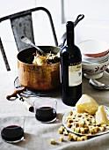 Coq au vin (chicken in white wine sauce)