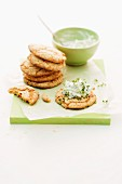 Mediterranean unleavened bread with herb quark