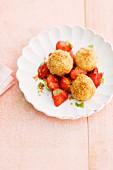 Quark dumplings with strawberries