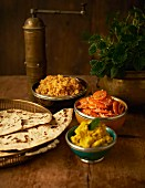 Moroccan appetisers and unleavened bread