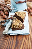 Two slices of nut cake at Christmas