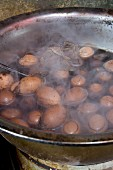 Eggs boiled in tea at a market in China