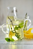 Herbal tea in a glass cup