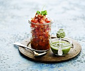 Tomato tartar and pesto