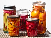 Pickled vegetables and preserved peaches