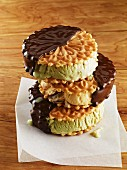 Chocolate-dipped pistachio ice cream sandwiches