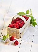 Raspberries in a wooden basket on a cloth