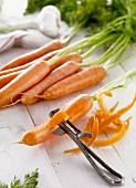 Fresh carrots and carrot peel