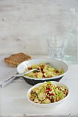 A Brussels sprouts salad with pomegranate seeds