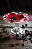 Blackberries and blueberries in pomegranate jelly