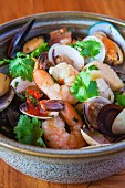 Caribbean stew with prawns and mussels