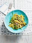 Fried asparagus strips