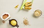 Stillleben mit verschiedenen Hülsenfrüchte, Polenta & Tofu