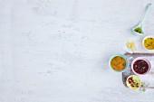 Various salad dressings in bowls