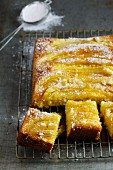 A warm upside-down banana cake