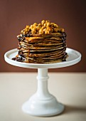 Pancakes with caramelised hazelnuts and chocolate and salted caramel sauce