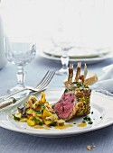 Lamb chops with a vegetable ragout