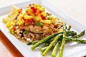 Swordfish with pineapple and pepper chutney, rice and asparagus