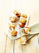Mini cheesecakes topped with pear