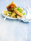 Fish tempura with aioli and vegetable chips
