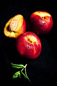 Chilled organic nectarines with fresh mint