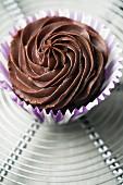 A chocolate ganache cupcake