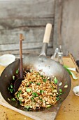 Wide rice noodles with tofu and bok choy (Thailand)