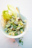 Vegetable salad with turkey and pasta