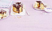 Croissant-Doughnuts with coconut cream and chocolate glaze