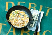 Barley risotto with blue cheese