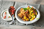 Spicy potatoes with a lentil medley