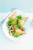 Crispy goat's cheese wontons with honey, figs and walnut pesto