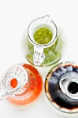 Carafes of salad dressings