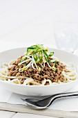 Udon noodles with pork