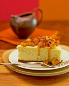 A slice of pineapple cheesecake