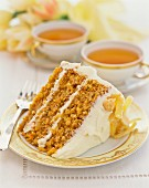 A slice of carrot cake with candied ginger