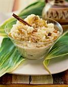 Coconut rice pudding with raisins and cinnamon
