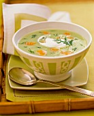 Herb soup with salmon and dill