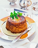 Bread pudding with fresh mint
