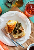 A pastry filled with tuna and capers