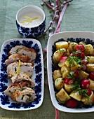 Hähnchenroualden mit Kartoffel-Radieschen-Salat zum Muttertag