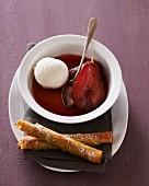 Pear in red wine with vanilla ice cream