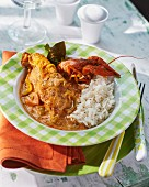 Chicken and crayfish with rice