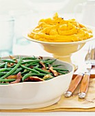 Green beans and mashed sweet potatoes