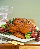 Roast turkey with grapes and sage