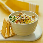 Sweetcorn soup with chanterelle mushrooms
