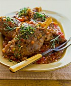Leg of lamb with herbs and a vegetable sauce