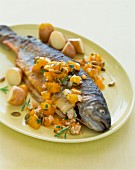 Fried trout with a pumpkin medley and potatoes