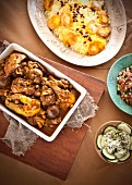 Lamb curry with spicy rice and salads