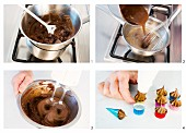Ginger and chocolate sweets being made